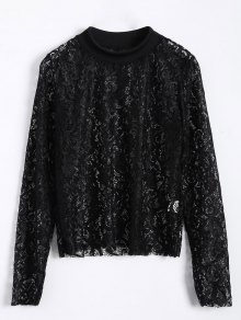 Long Slevee High Neck Lace Blouse