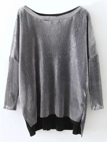 Metallic Color High Low Pleated T-Shirt