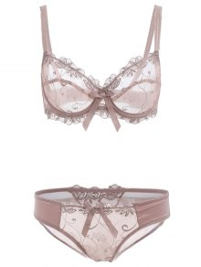 Bowknot See-Through Bra Set