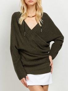Wrap Front Sweater - Army Green