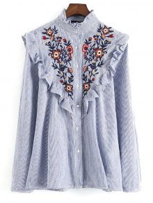 Embroidered Bib Frilled Shirt