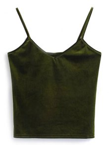 Camisole Velvet Top - Army Green