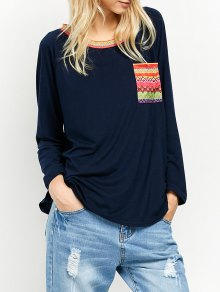 Pocket Round Neck Printed Tunic T-Shirt - Cadetblue Xl