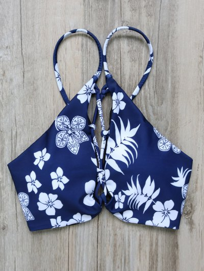 Tassel Tie Printed Bikini Set - PURPLISH BLUE S Mobile
