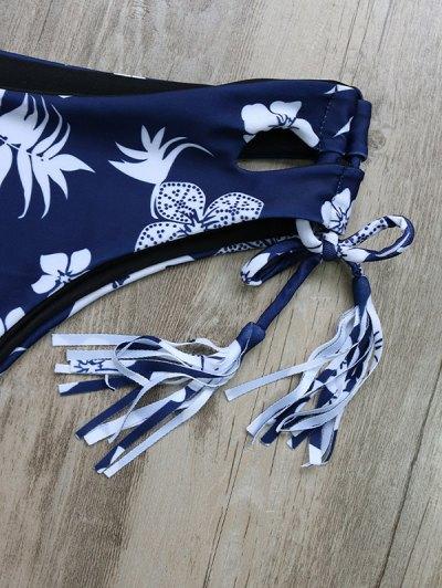 Tassel Tie Printed Bikini Set - PURPLISH BLUE M Mobile