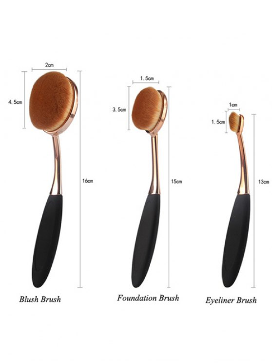 3 Pcs Oval Toothbrush Makeup Brushes Set + Teardrop Makeup Sponge + Brush Egg - BLACK  Mobile