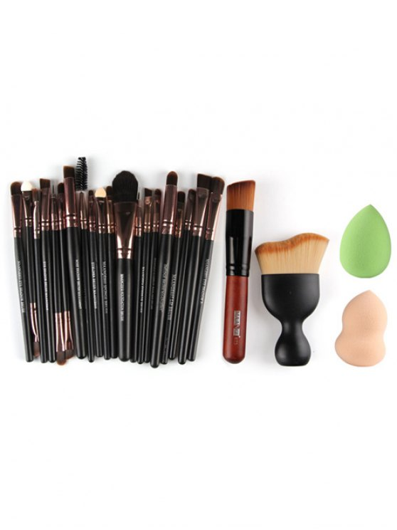 22 Pcs Face Eye Makeup Brushes and Beauty Blenders - ROSE GOLD  Mobile