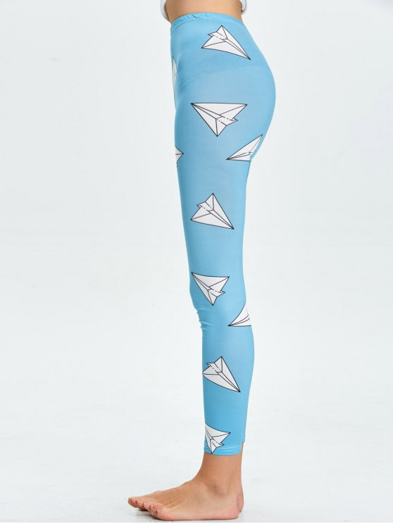 High Waist Skinny Geometric Print Leggings - LAKE BLUE L Mobile