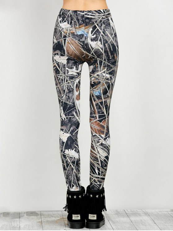 Elastic Waist Print Leggings - FLORAL XL Mobile