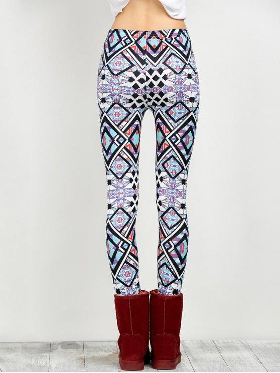Elastic Waist Geometric Print Leggings - FLORAL M Mobile
