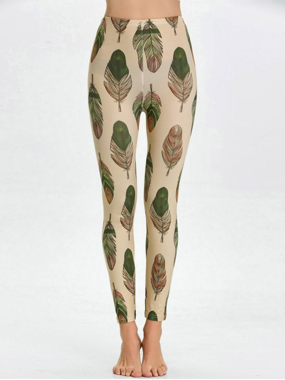 High Waist Skinny Leaf Print Leggings - APRICOT M Mobile