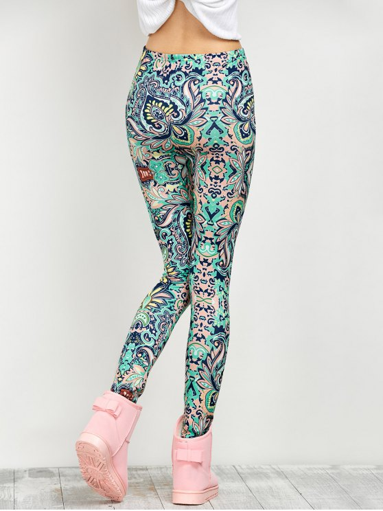 Mid Rise Skinny Print Leggings - FLORAL M Mobile
