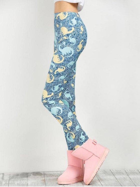 Mid Rise Elastic Print Leggings - FLORAL L Mobile