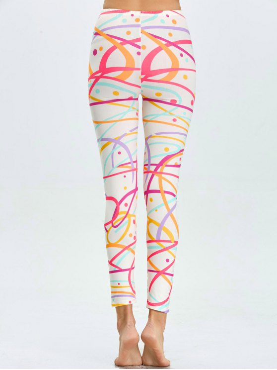 High Waist Skinny Graphic Leggings - WHITE M Mobile