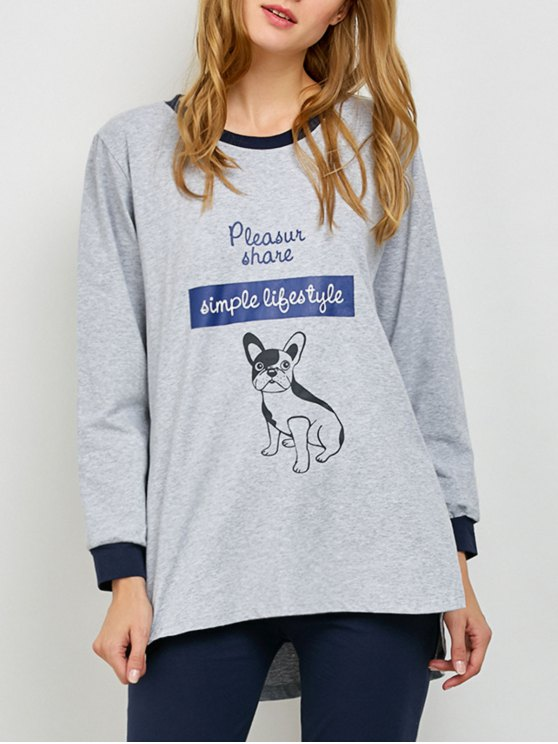 Puppy Print Sweatshirt and Leggings Lounge Set - GRAY L Mobile