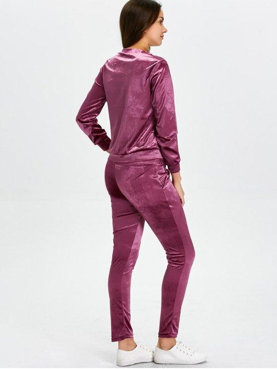 Stand Collar Velvet Tee and Velvet Sport Pants - PURPLISH RED M Mobile