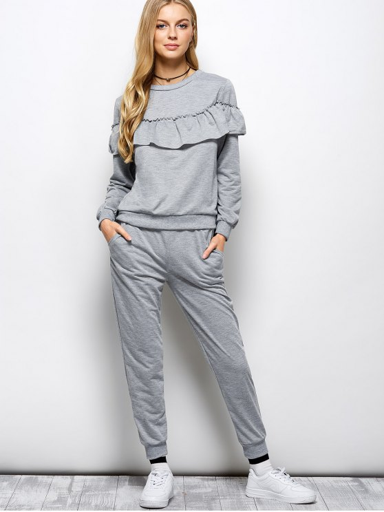 Flounced Sweatshirt and Pockets Design Pants - GRAY XL Mobile
