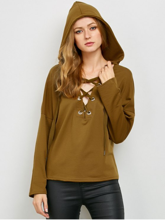 V Neck Lace Up Hoodie - KHAKI L Mobile