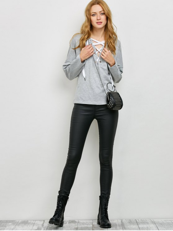 V Neck Lace Up Hoodie - LIGHT GRAY M Mobile