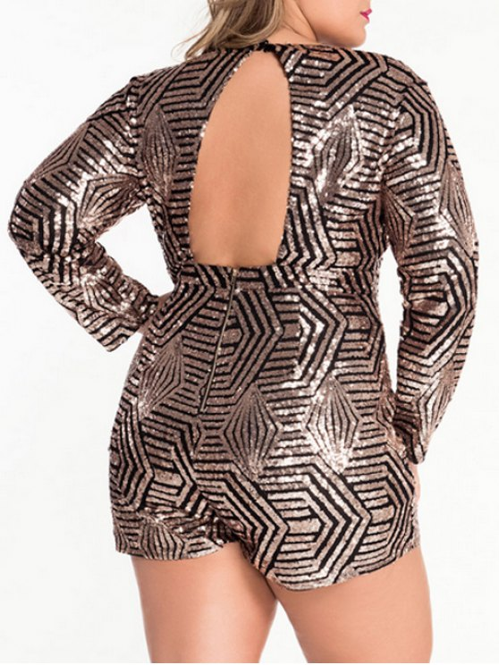 Plunging Neck Cut Out Sparkly Romper - METALLIC L Mobile