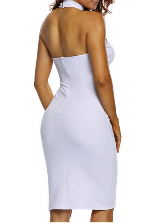 Halter Cut Out Backless Bodycon Dress - WHITE L Mobile