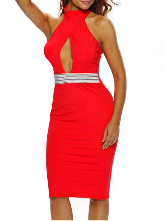 Halter Cut Out Backless Bodycon Dress - RED S Mobile