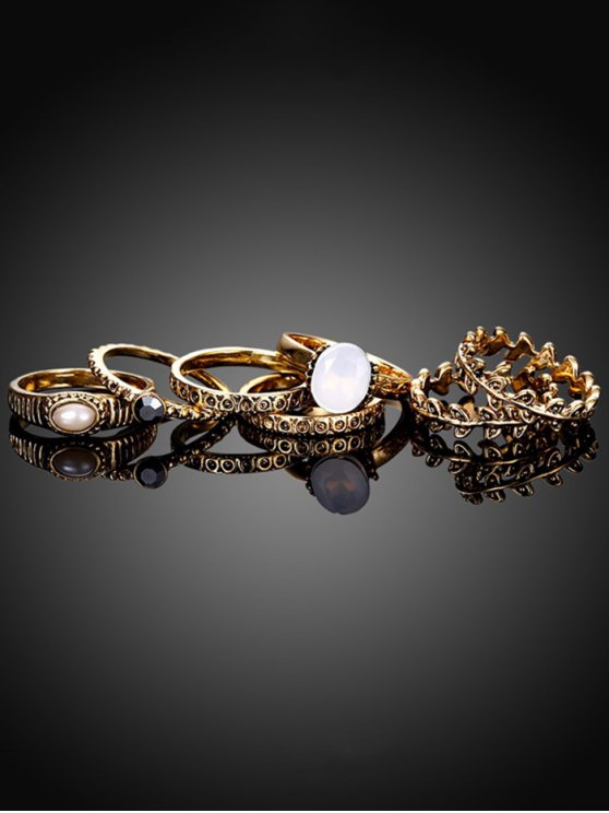 Faux Pearl Leaf Ring Set - GOLDEN 6 Mobile