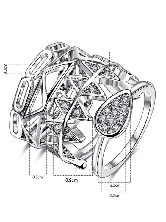Rhinestoned Geometric Ring Set - SILVER 6 Mobile