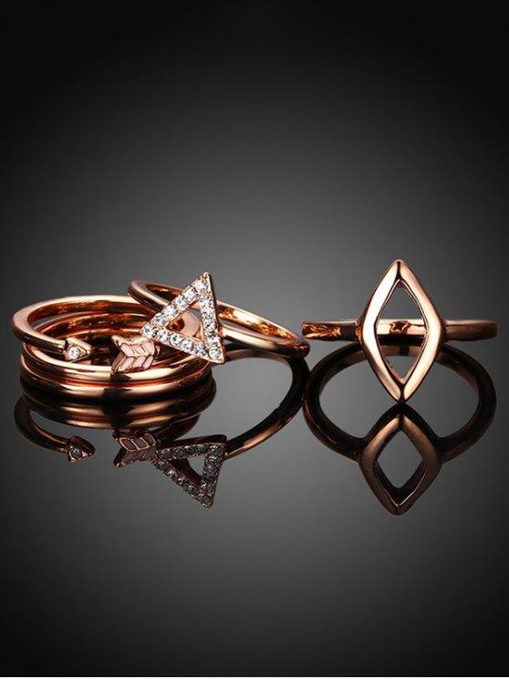 Triangle Rhinestone Ring Set - ROSE GOLD 6 Mobile