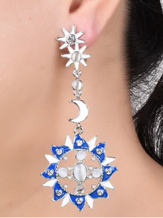 Artificial Pearl Opal Star Moon Earrings -   Mobile