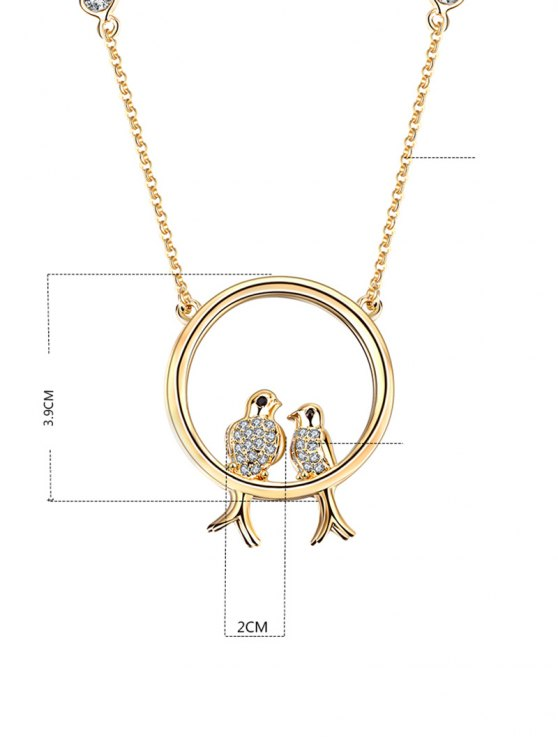 Rhinestone Birds Circle Pendant Necklace -   Mobile