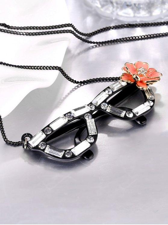 Rhinestone Flower Glasses Necklace - BLACK  Mobile