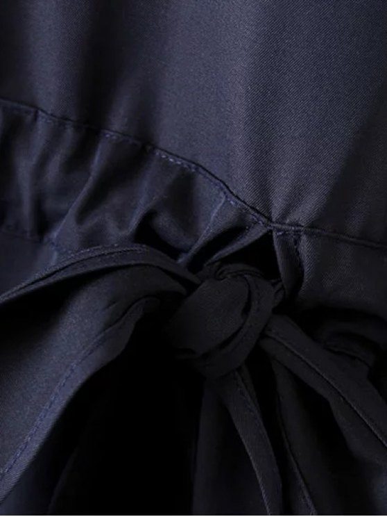 Bow Tie Tunic Dress - PURPLISH BLUE M Mobile