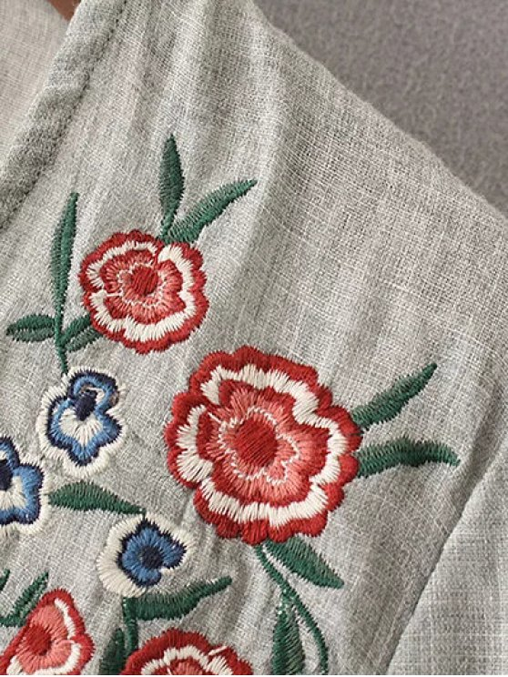 Peplum Hem Embroidered Blouse - GRAY L Mobile
