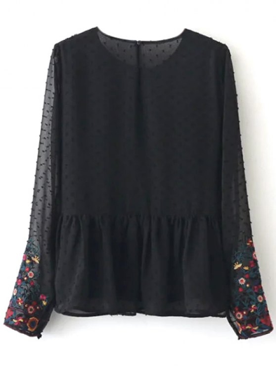 Peplum Embroidered Plumetis Blouse - BLACK L Mobile