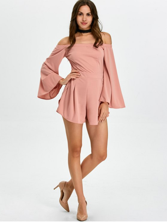 Flare Sleeve Off Shoulder Playsuit - PINK XL Mobile