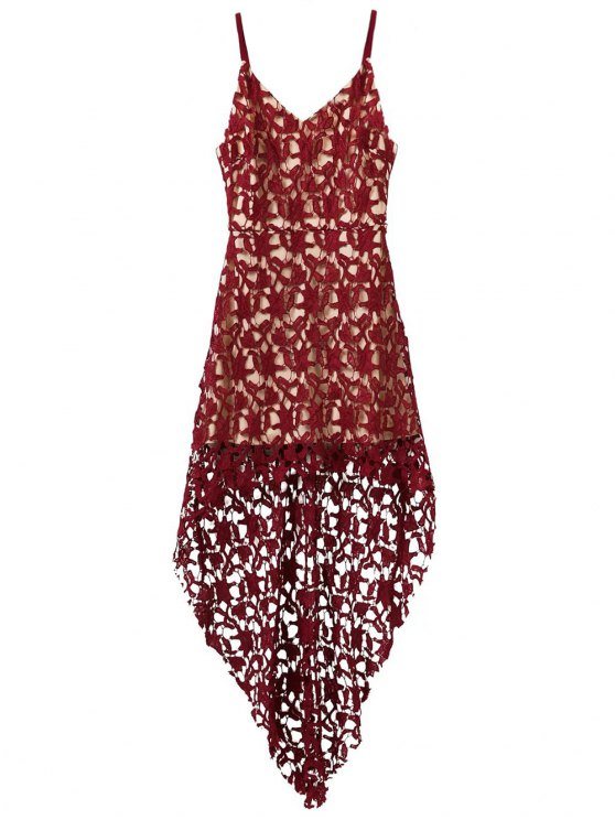High Low Crochet Dress - BURGUNDY M Mobile