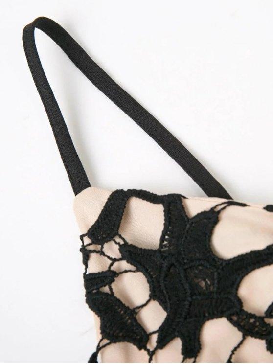 High Low Crochet Dress - BLACK M Mobile