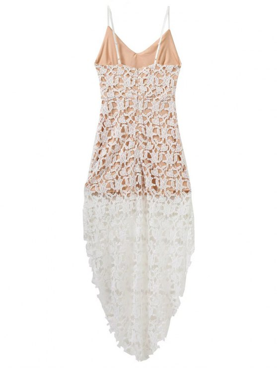 High Low Crochet Dress - WHITE L Mobile