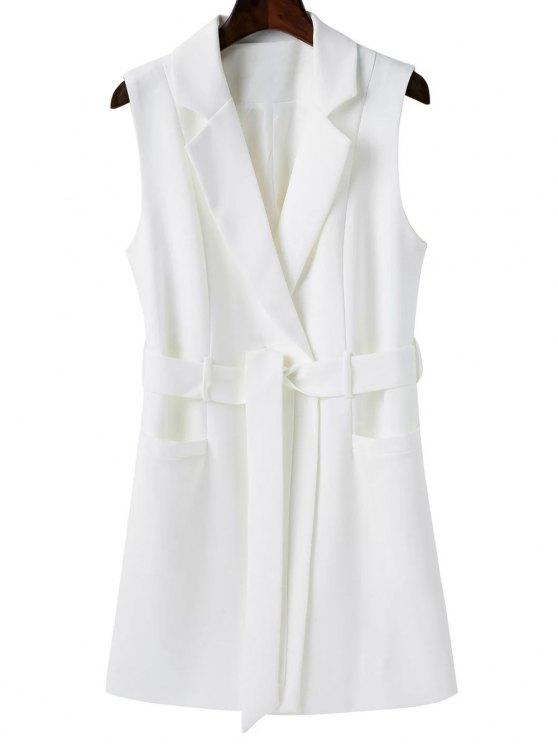 fashion Sleeveless Blazer - WHITE M