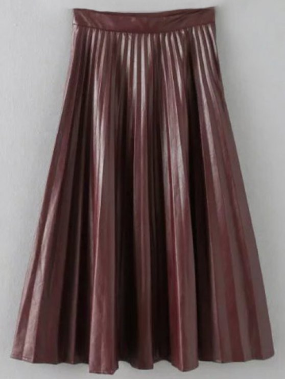 Pleated PU Leather Long Skirt - BURGUNDY S Mobile