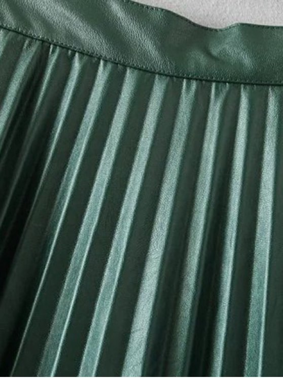 Pleated PU Leather Long Skirt - ARMY GREEN M Mobile