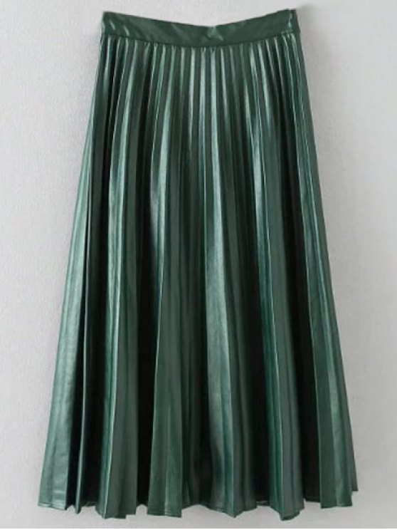 Pleated PU Leather Long Skirt - ARMY GREEN S Mobile