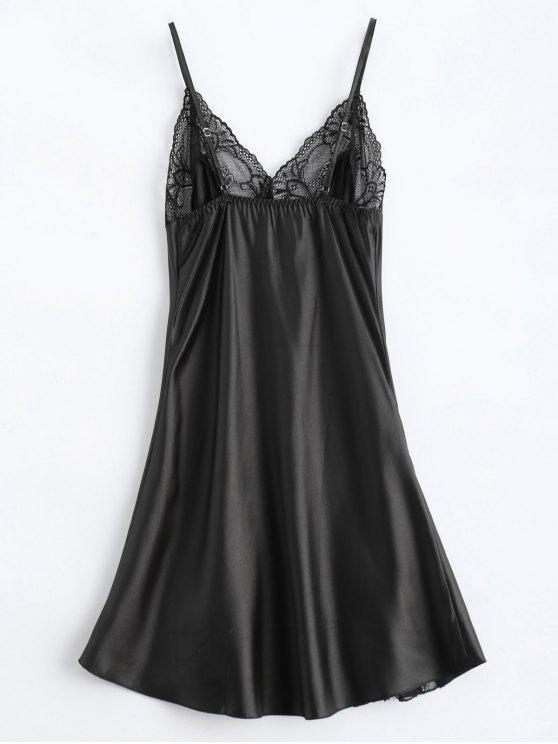 Bowknot Lace Panel Babydoll - BLACK M Mobile