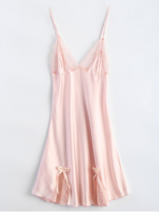 Bowknot Lace Panel Babydoll - PINK M Mobile