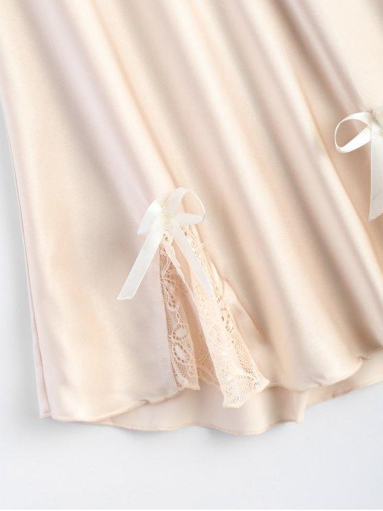 Bowknot Lace Panel Babydoll - APRICOT M Mobile
