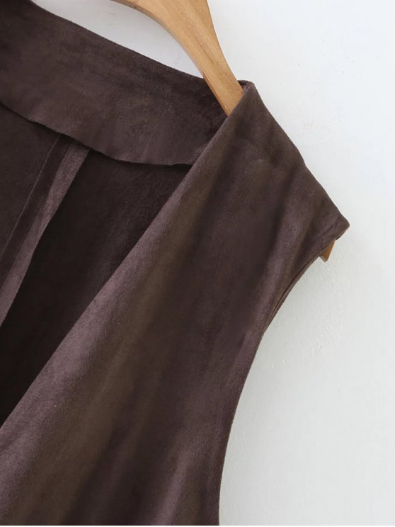 Collarless Side Slit Suede Waistcoat - COFFEE M Mobile