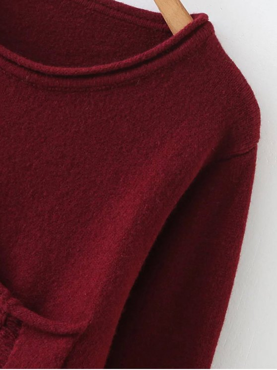 Round Neck Ripped Sweater with Pocket - BURGUNDY ONE SIZE Mobile