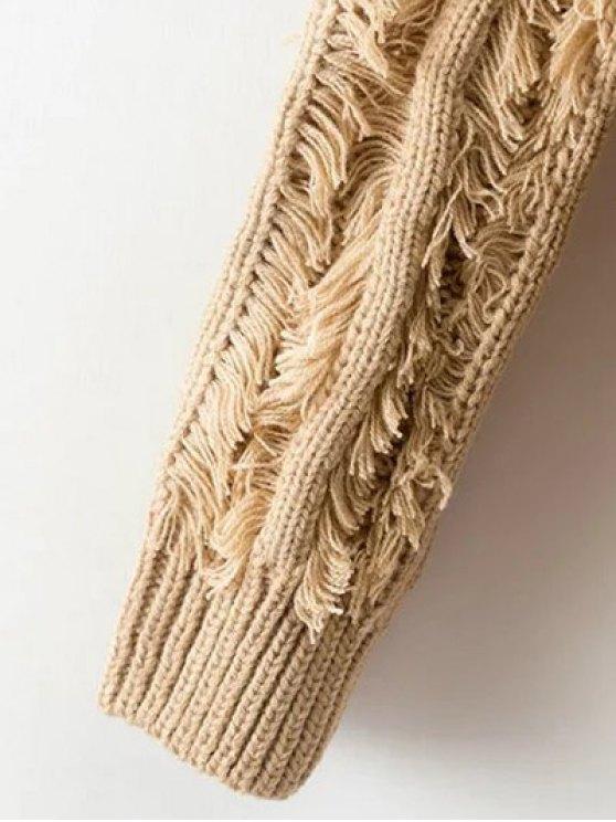Tassel Collarless Knitted Cardigan - KHAKI ONE SIZE Mobile