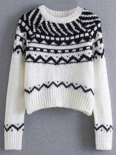 Geometric Jacquard Cropped Sweater - White M